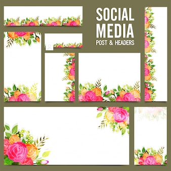 Social media post, cabeçalho ou banners com flores de rosa.