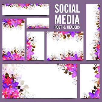 Social media post e header com flores rosa e roxas.