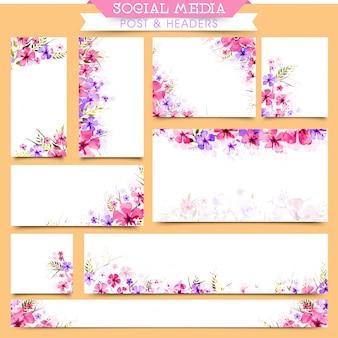 Social media post e headers com belas flores.