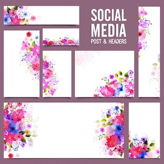 Social media post e headers com flores coloridas.