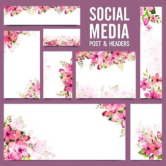 Social media post e headers com flores de aguarela rosa.