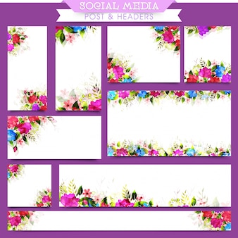 Social media post e headers com flores de aguarela.