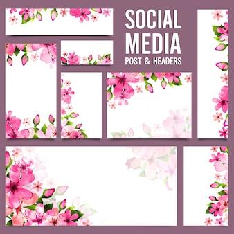 Social media post e headers com flores rosa.