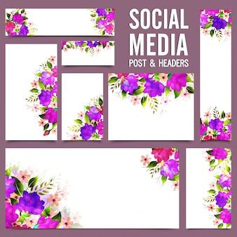 Social media post e headers com flores roxas.
