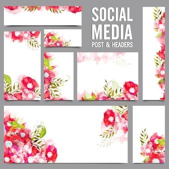 Social media post e headers com flores vermelhas e rosa.