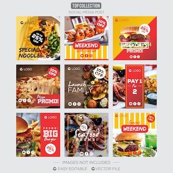 Social media post instagram comida de modelo