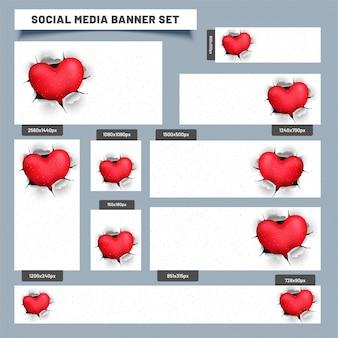 Social media post ou banners com coração saindo de papel rasgado.