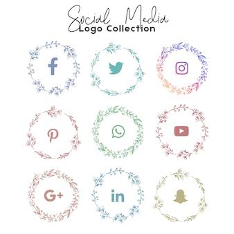 Social media summer coleção de logotipo e ícone