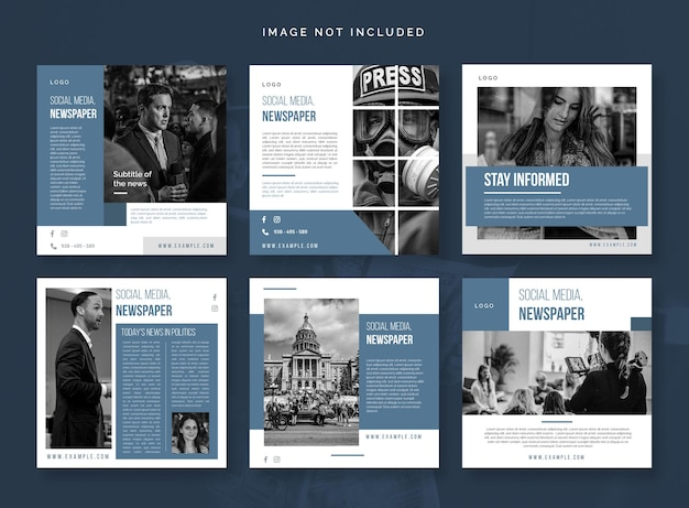 Social media vol 15 imprensa jornal notícias postar modelo de mídia social newscast negócio