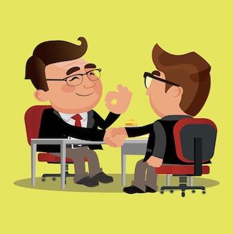 Sócios empresários apertando as mãos após assinatura do contrato