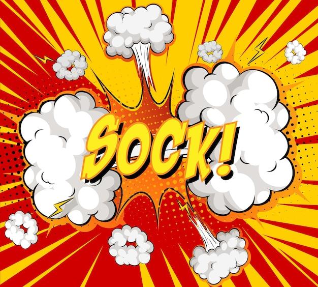 Sock texto na explosão de nuvem em quadrinhos no fundo de raios