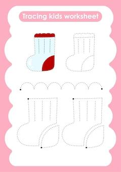 Sock trace linhas de escrita e planilha de prática de desenho para crianças