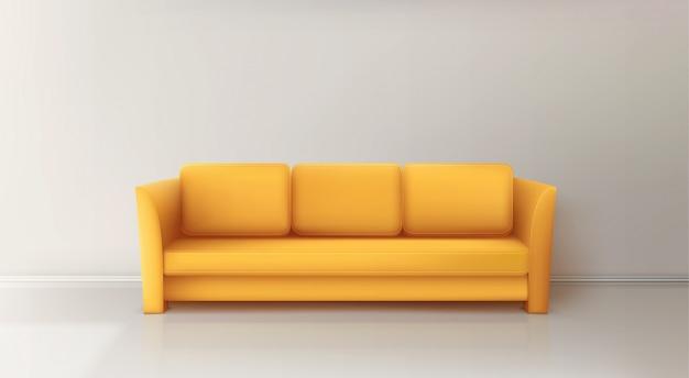 Sofá amarelo realista