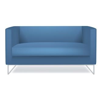 Sofá azul fundo branco isolado