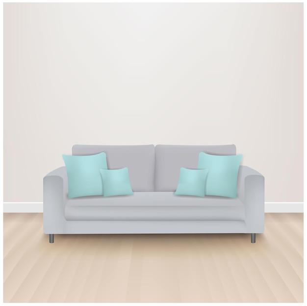 Sofá-cama com almofadas de menta com malha gradiente