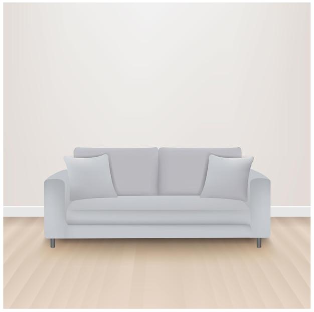 Sofá-cama com fundo cinza isolado com malha gradiente