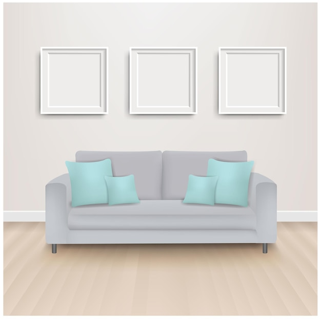 Sofá-cama com travesseiros de menta e quadro com malha gradiente