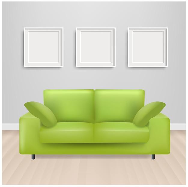 Sofá-cama verde com porta-retratos e fundo cinza com malha gradiente