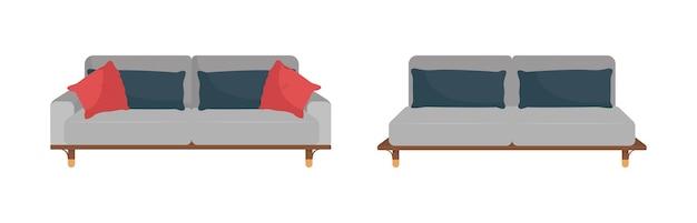 Sofá cinza com almofadas pretas e vermelhas ilustração plana dos desenhos animados