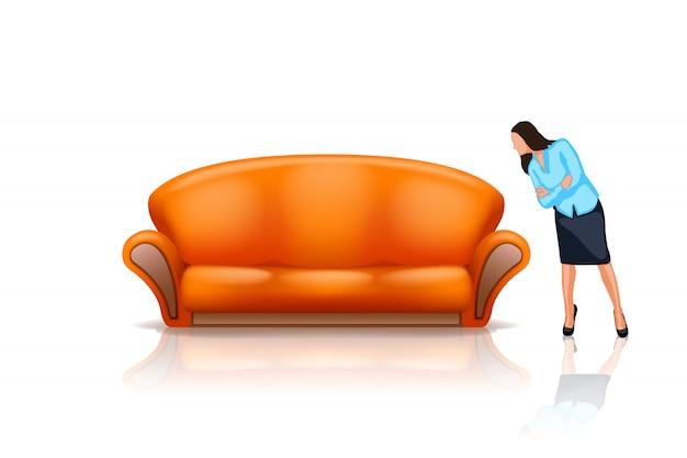 Sofá com menina