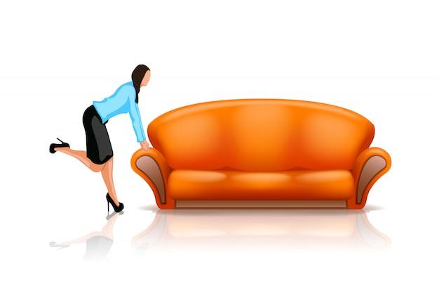 Sofá com mulher