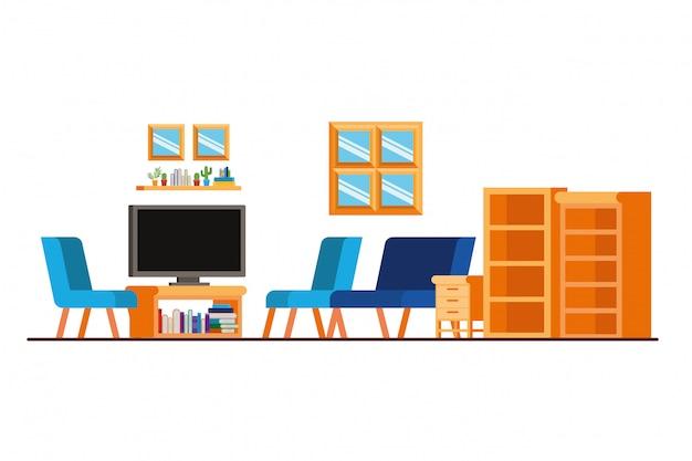 Sofá confortável na sala de estar com tv de plasma