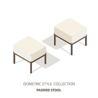 Sofá de cabeceira. banco de quarto em vista de estilo isométrico. sofá da luminosidade reduzida isolado do fundo branco.