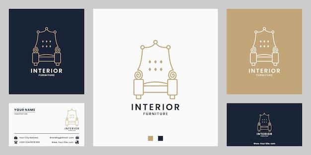 Sofá, design de logotipo de móveis para interiores de casa com cor gradiente