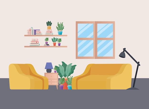 Sofá e poltrona amarelos com plantas no design da sala de estar, decoração da casa, interior, apartamento em prédio e tema residencial