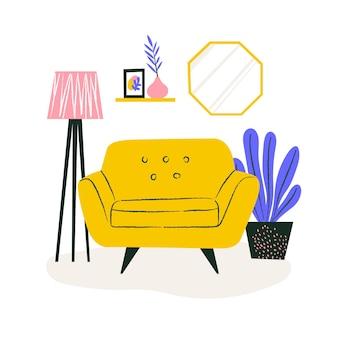Sofá fofo em apartamento aconchegante com planta e estante. conceito de interior para casa. ilustração do local para o site