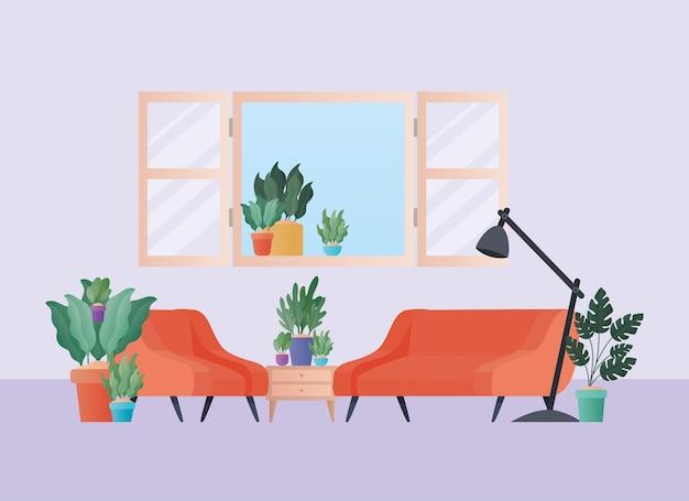 Sofá laranja e poltrona com plantas no design da sala de estar, decoração da casa, sala de estar interior apartamento e tema residencial