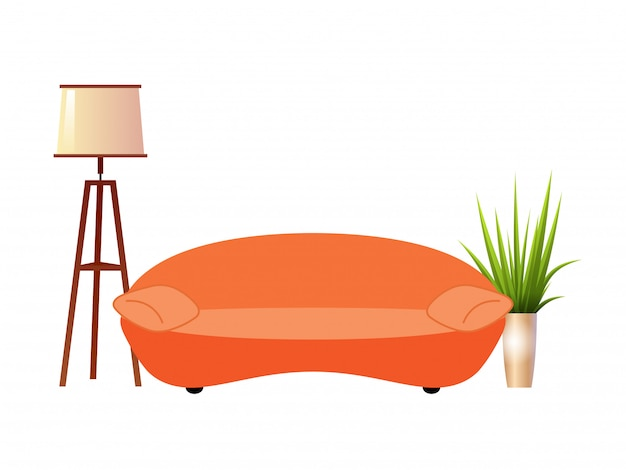 Sofá laranja realista com lâmpada de assoalho e vaso de flores