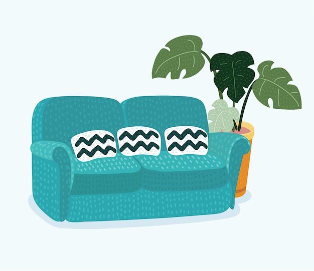 Sofá luxuoso de couro vermelho para recepção de sala de estar moderna ou design realista de objeto único