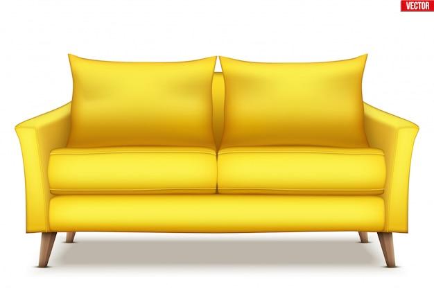 Sofá macio moderno com almofadas.