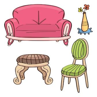 Sofá, mesa e cadeira em estilo doodle