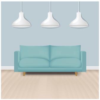 Sofá moderno da hortelã com fundo da lâmpada com malha de gradiente.