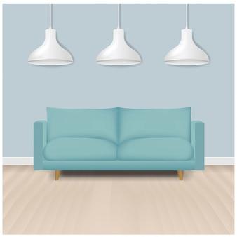 Sofá moderno de hortelã com lâmpadas