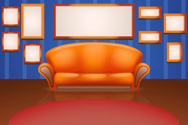 Sofá na parede com molduras