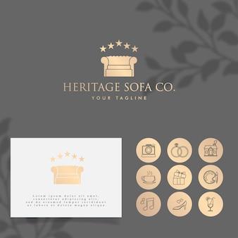 Sofa ouro minimalista logotipo modelo editável
