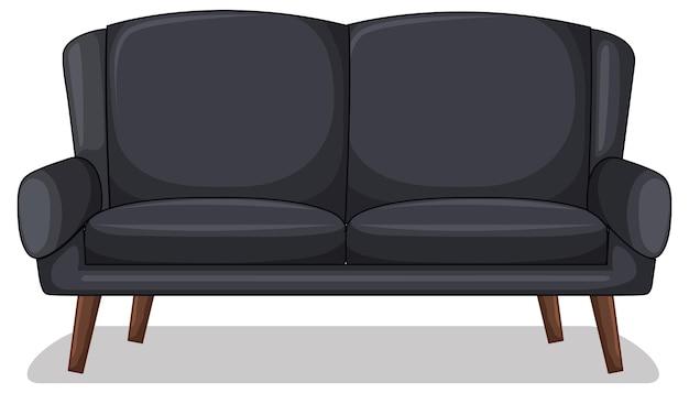 Sofá preto de dois lugares isolado no fundo branco