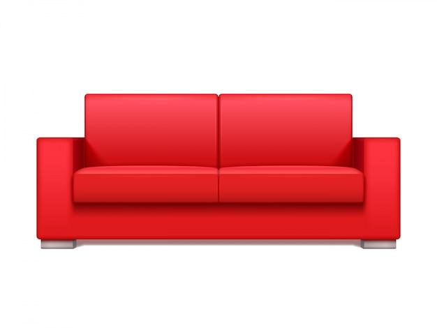 Sofá realista de couro vermelho para moderna sala de estar