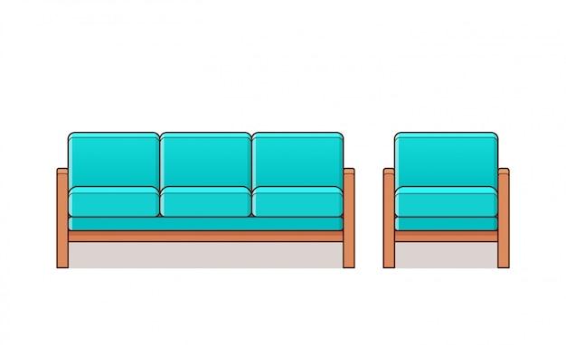 Sofá, sofá, ícone linear de poltrona. . contorno de móveis em arte de linha plana. equipamento de casa turquesa dos desenhos animados para sala de estar isolada. elementos do conjunto animados para o salão.