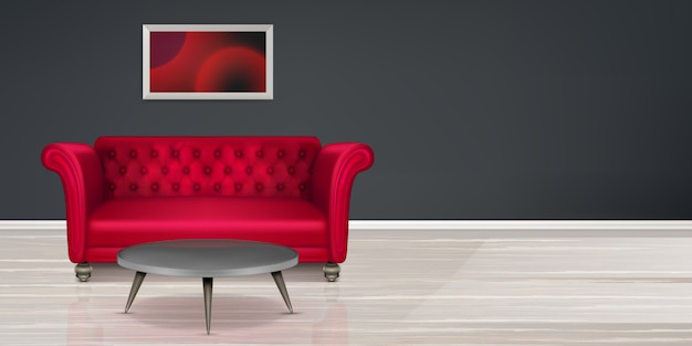 Sofá vermelho, design de interiores de habitação moderna de sofá