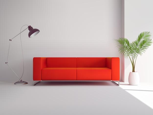 Sofá vermelho realista