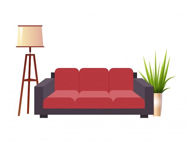 Sofá vermelho realístico com ilustração interior da lâmpada de assoalho e do vaso de flores.