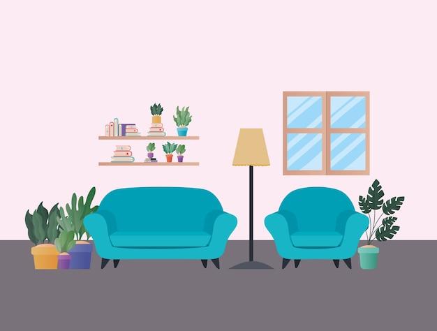 Sofás azuis com plantas em design de sala de estar, decoração de interiores, apartamento em prédio e tema residencial
