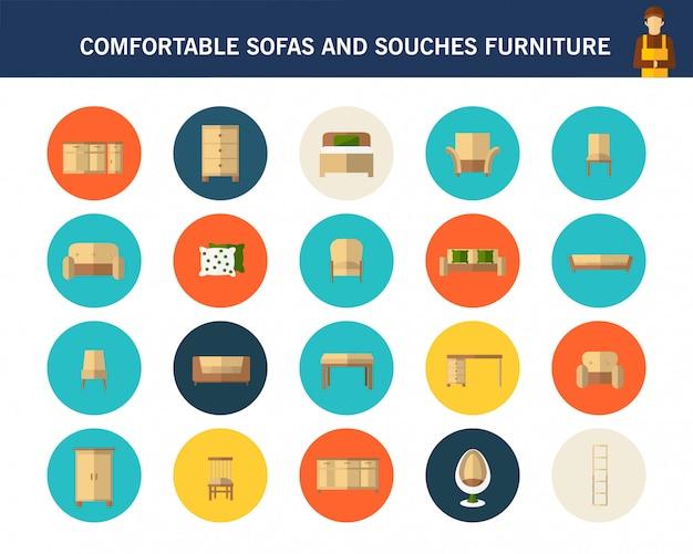 Sofás confortáveis e sofás móveis conceito plana ícones.