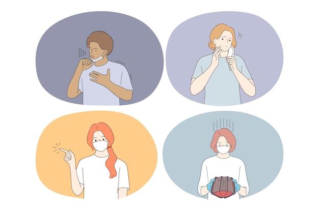 Sofrendo de pandemia de covid-19 e ilustração do conceito de máscara facial protetora individual