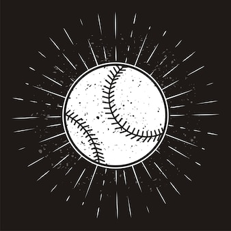 Softball vintage com sunburst em fundo grunge
