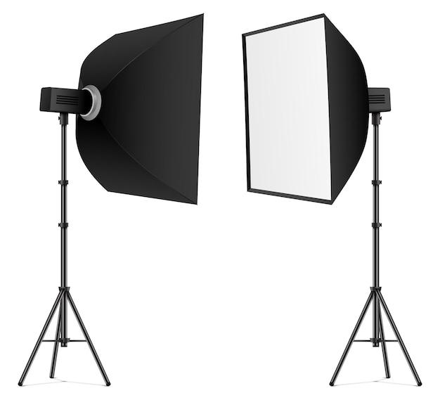 Softbox preta isolada na vista frontal e traseira ilustração do vetor de iluminação de estúdio profissional
